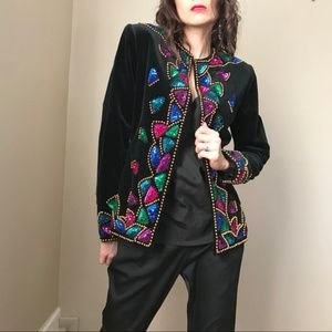 Vintage Black Velvet Sequin Beaded Jacket Blazer
